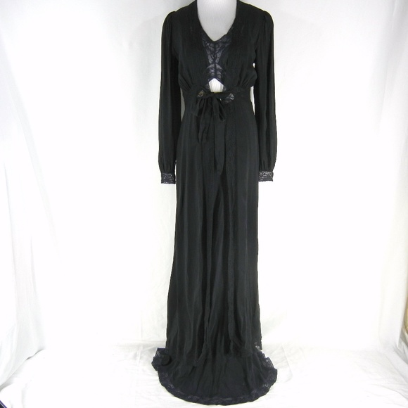 Blanche Other - Vtg 40s Black Lingerie BLANCHE Silk Maxi Nightgown d06a8ae3c